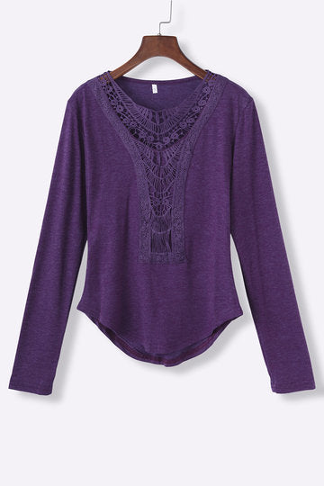 Purple Hollow Out Long Sleeve Curved Hem Shirt