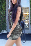 Green Camouflage Pattern Hoodie Lace Up Front Mini Dress