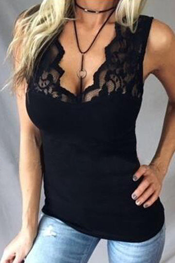 Black Deep V-Neck Sleeveless Lace Detail Top