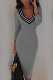 Grey V Neck Contrast 3/4 Sleeve Bodycon Dress