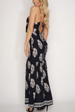 Black Tie Front Cut-Out Split Hem Maxi Dress