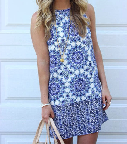Fall Fashion Blue White Sleeveless Vintage Print Dress - Crystalline