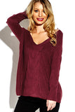 Burgundy V-Neck Knitted Loose Tops