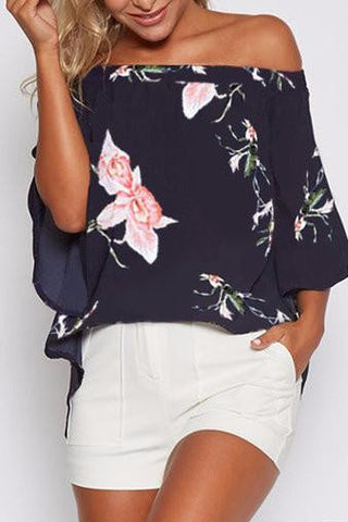 Black Floral Print Off Shoulder Butterfly Sleeve Split Back Blouse
