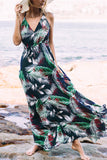 Navy Random Tropical Leaves V-Neck Halter Maxi Dress