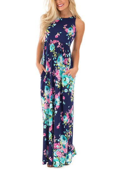 Navy Random Floral Print Side Pocket Racer Back Maxi Dress