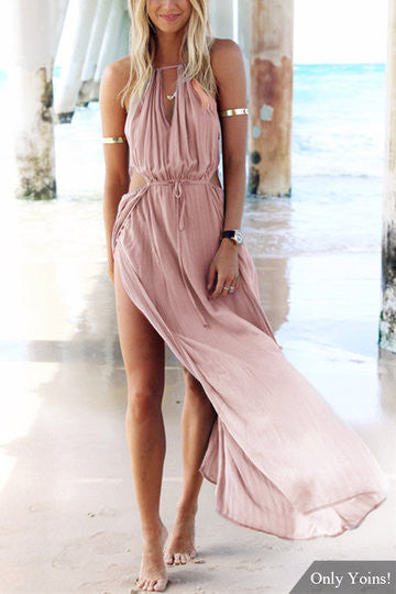 Pink Sleeveless Side Split Back Lace-Up Maxi Dress