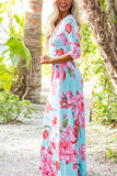 Blue Floral Print Self-Tie Wrap 3/4 Sleeve Maxi Dress