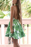 Green Halter Cut-Out Sleeveless Swing Dress