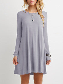 Casual Grey Shift Long Sleeve Dress - Crystalline