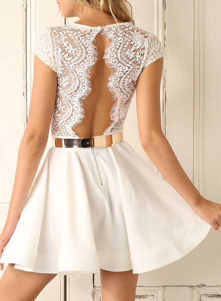 White Cap Sleeve With Lace Dress - Crystalline