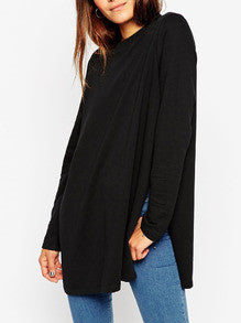 Long T-Shirt with Split in Black Trendy Long Tee - Crystalline