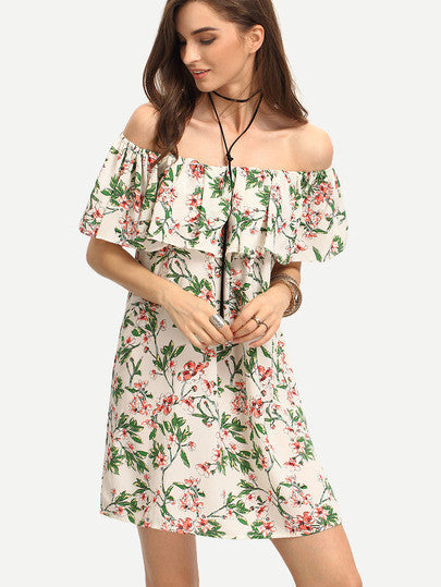 161e6268241 Off the Shoulder Ruffle Top Floral Print Dress – Crystalline