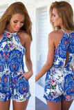 Paisley Print Royal Blue Halter Rompers - Crystalline
