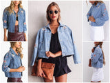 Flower embroidery Vintage Denim jacket - Crystalline
