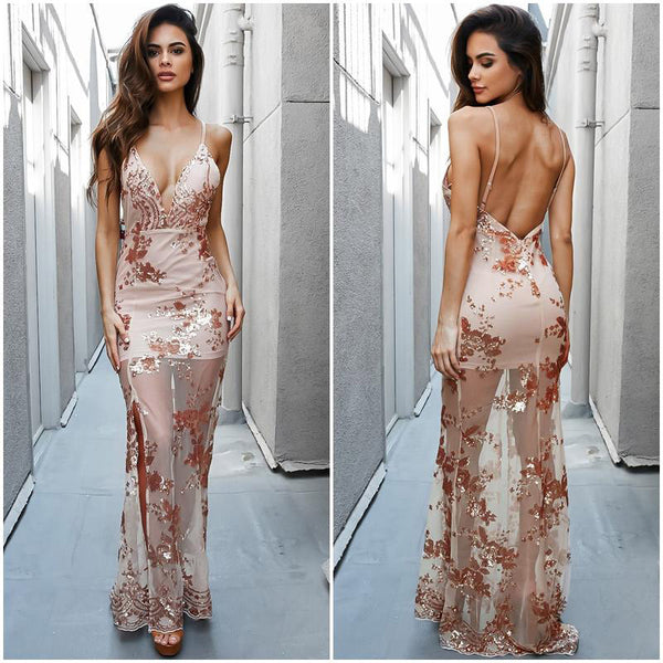 ♡ Gold Sequined Maxi Dress Elegant Spaghetti Strap Embroidery See Through Long Maxi Dress ♡ - Crystalline