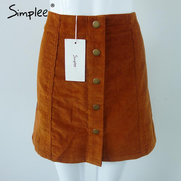 Simplee Apparel Retro corduroy high waist skirt A line button slim mini skirt Preppy single breasted Autumn women skirt 90's new - Crystalline