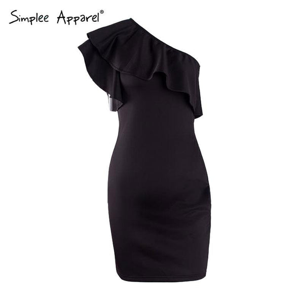 Simplee Autumn sexy ruffles black women short dress One shoulder white bodycon dress Sleeveless party vestidos winter dress - Crystalline