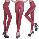 Faux Leather High Waist Leggings - Crystalline