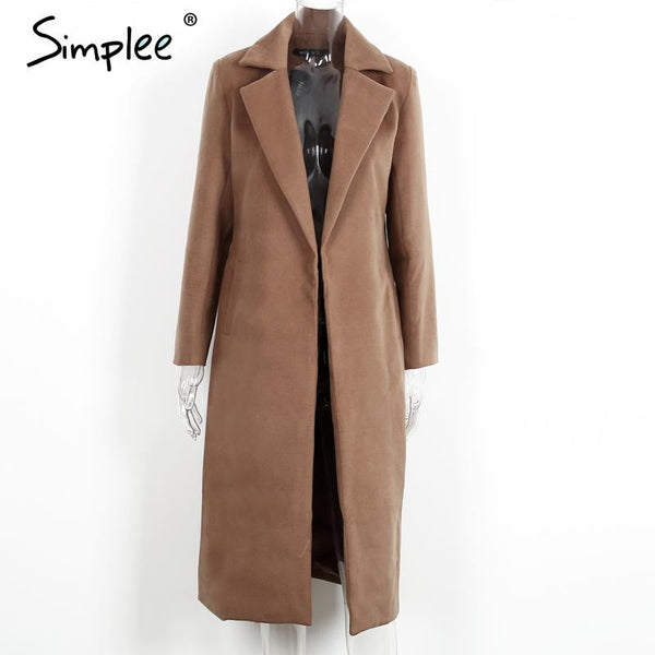 Simplee Winter warm wool blend female coat Autumn 2016 casual  turndown collar overcoat Classical camel long coats outerwear - Crystalline
