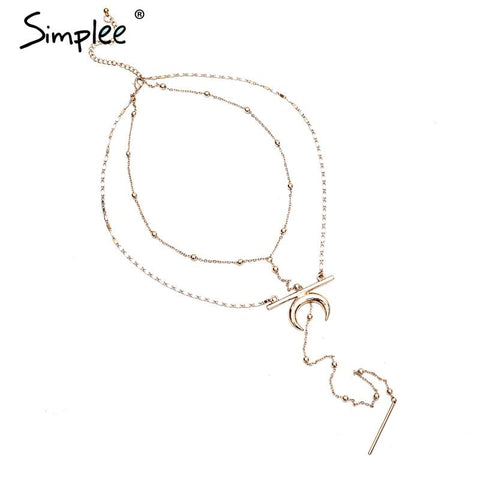 Golden moon chain necklace - Crystalline