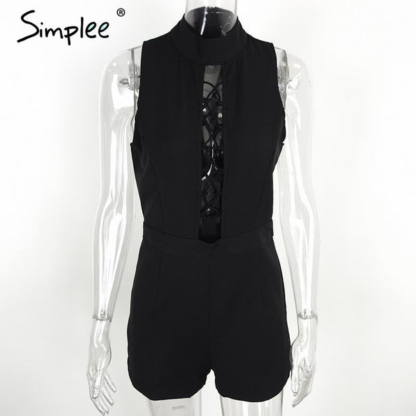 Simplee Apparel High neck lace up elegant jumpsuit romper Women sleeveless short sexy playsuit Girls high waist summer overalls - Crystalline