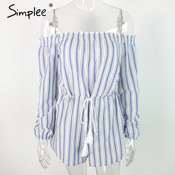 Simplee Apparel Sexy off shoulder blue striped women jumpsuit romper Summer style beach short playsuit Casual macacao overalls - Crystalline