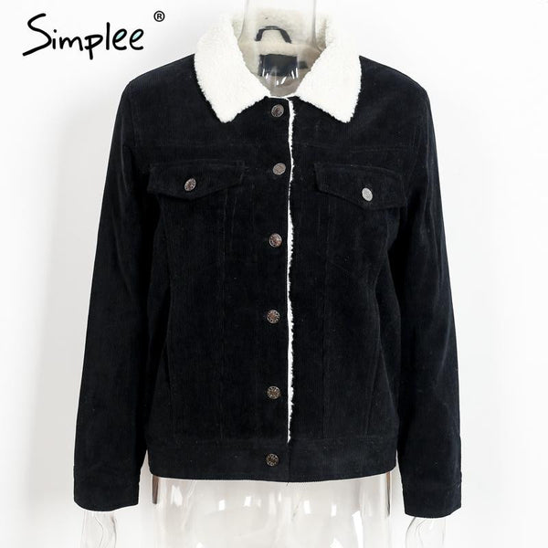 Simplee Black vintage lambswool jacket coat Winter warm long sleeve corduroy jacket Women autumn hairly collar female overcoat - Crystalline