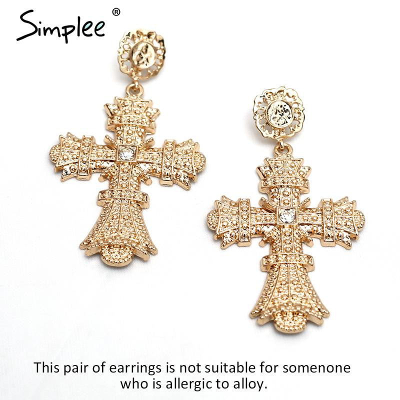 Crystal drop earrings ethnic cross big earrings - Crystalline