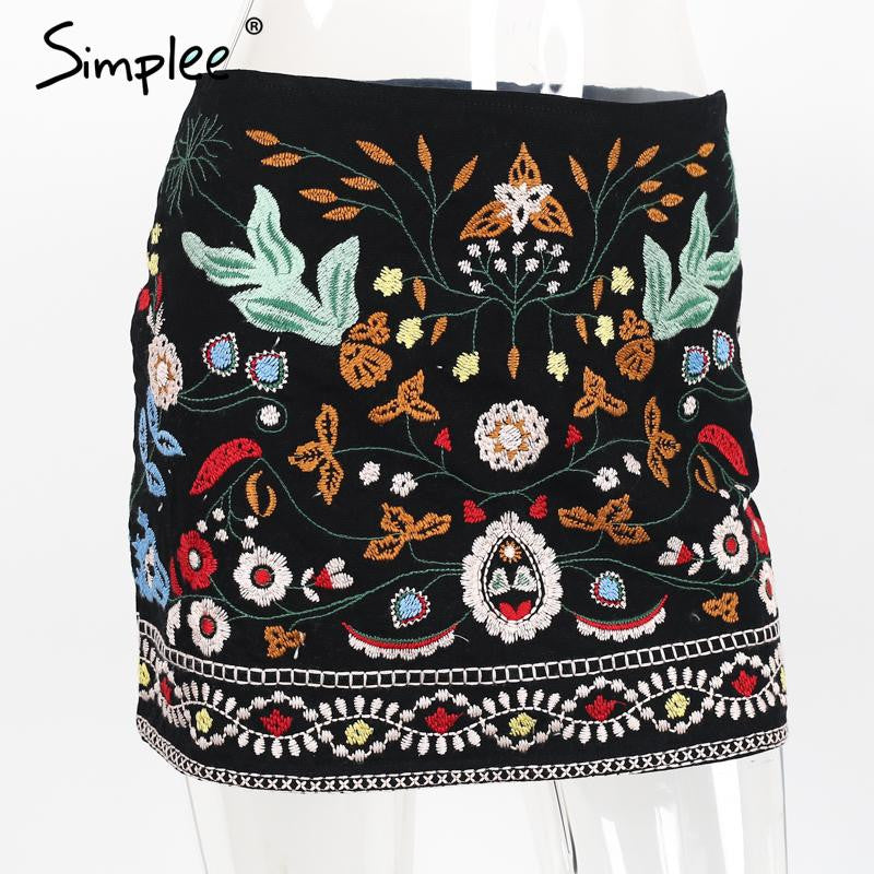 ♡ Retro embroidery black floral short skirt ♡ - Crystalline