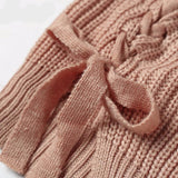 Tie up knitted pullover turtleneck Casual side split jumper - Crystalline
