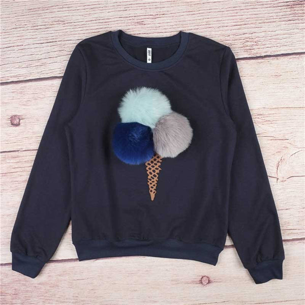 Ice Cream Printed Womens Sweatshirts Jumper - Crystalline