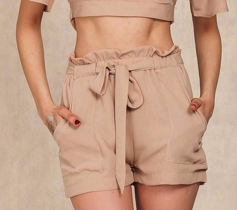 Chiffon shorts Bow high waist belt shorts - Crystalline