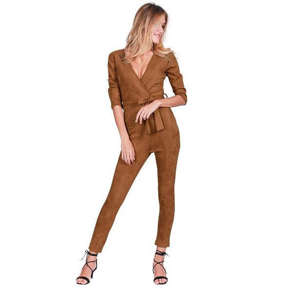 Deep V Neck Suede Belt Bodycon Jumpsuit Romper Autumn Fitness Brown Party jumpsuit