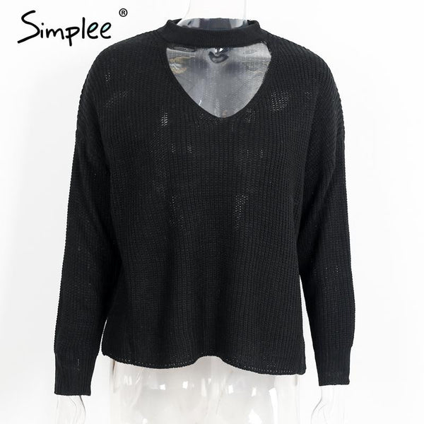 Simplee Black halter loose knitted sweater Women autumn long sleeve casual pullover outerwear Elegant winter v neck short jumper - Crystalline
