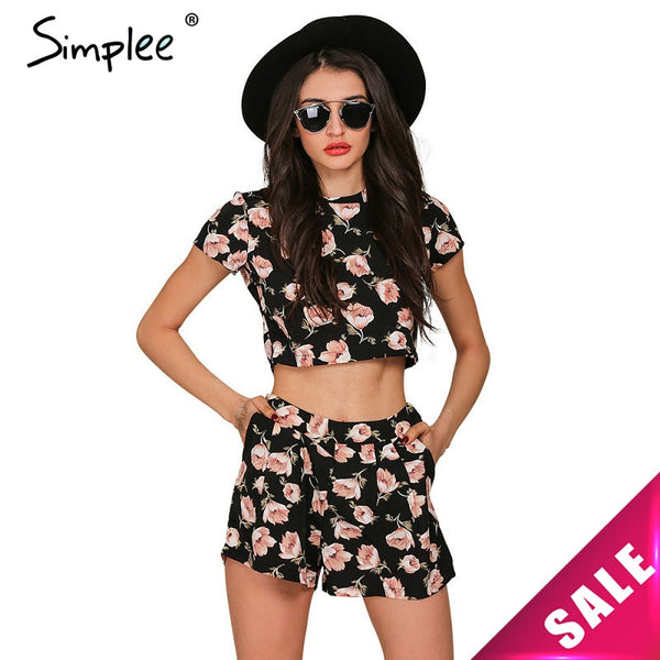 Simplee Apparel Boho floral print women jumpsuit romper Summer 2016 casual short playsuit Girls elegant two piece sexy ovaralls - Crystalline