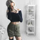 ♡ High-Quality Leather Women Skirt Vintage Suede Skirt High Waist Pencil Skirt ♡ - Crystalline