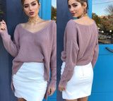 Off shoulder split knitted sweater knitwear