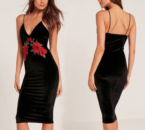 Embroidery flower velvet black sexy dress - Crystalline
