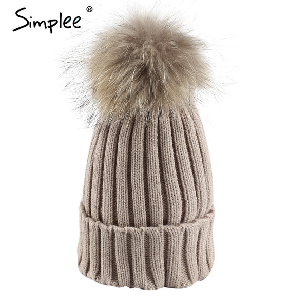 Removable real fur pompon Bobble hats - Crystalline