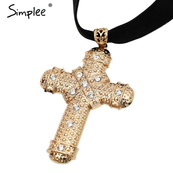 Simplee Velvet choker necklace womens clothing accessories Vintage jewelry Cross golden statement crystal pendant necklace - Crystalline