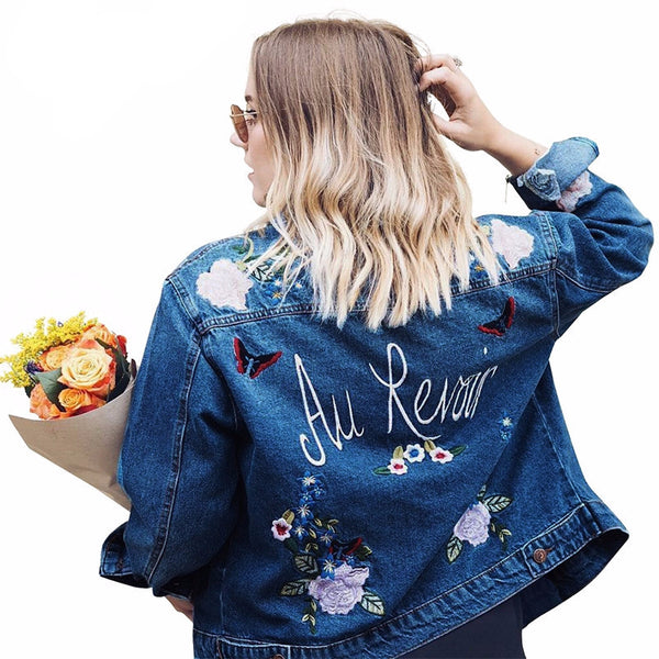 Embroidery denim vintage jacket coat - Crystalline