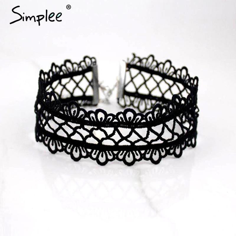 Simplee Sexy hollow out lace black choker necklace Short punk vintage necklace with chain Chic daisy flower necklace - Crystalline