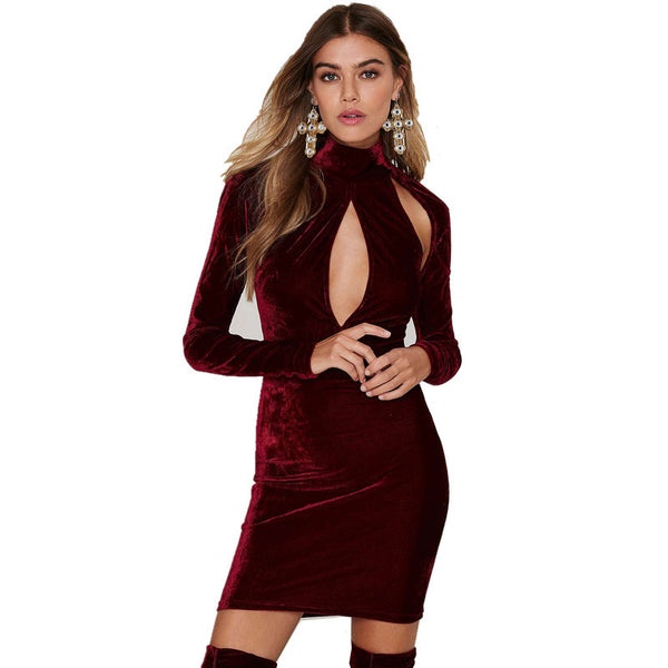 GD207 Womens Vintage Winter Warm Turtleneck Long Sleeve Cut Out Fleece Velvet Bodycon Dress Marsala Red Electric Blue - Crystalline