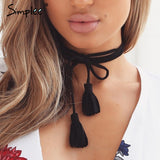 Chic suede tassel bow black necklace - Crystalline