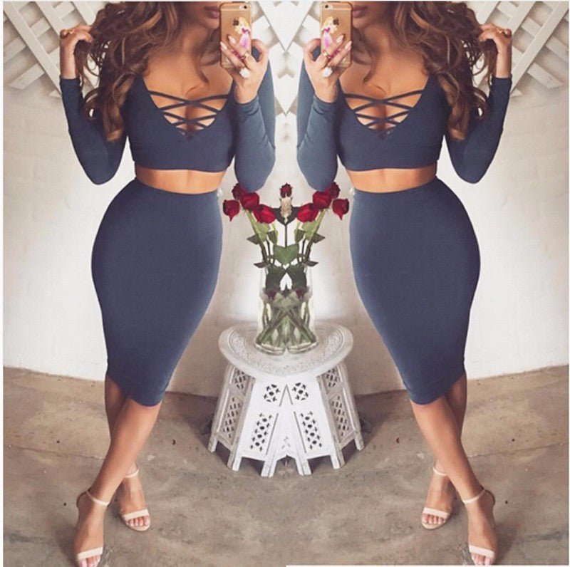 26310f765671 ♡ Sexy Club Dress Long Sleeve 2 piece set bandage bodycon dress ♡ –  Crystalline