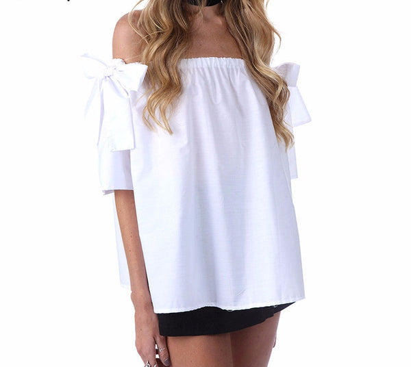 Off shoulder white blouse shirt - Crystalline
