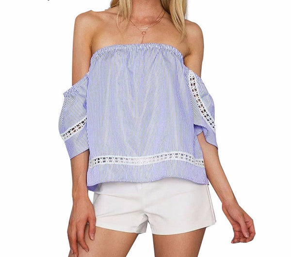Off shoulder blue striped shirt Ruffle sleeve - Crystalline