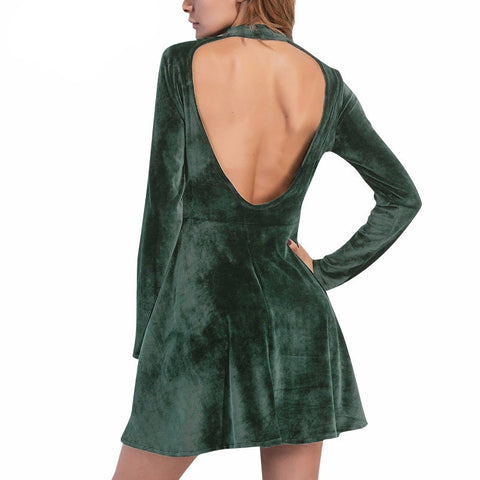 Velvet backless sexy dress Winter elegant long sleeve - Crystalline