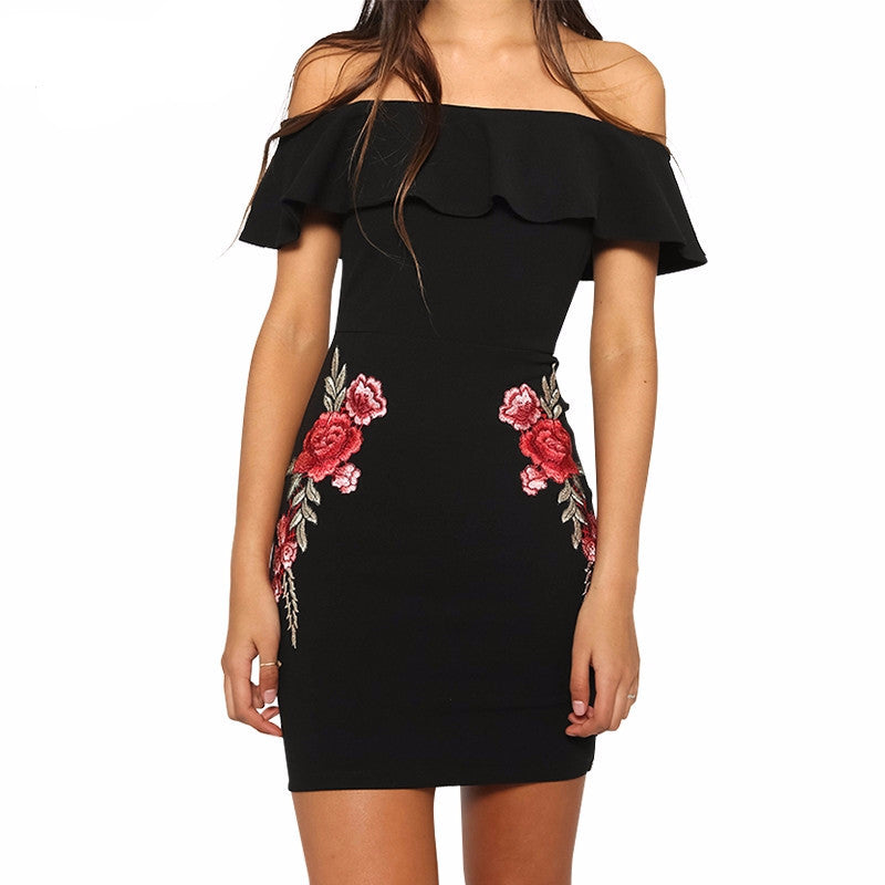 Sexy off shoulder ruffle women dress - Crystalline